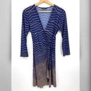 BCBGMaxAzria Wrap Dress Navy Tan Stripe Sz Large